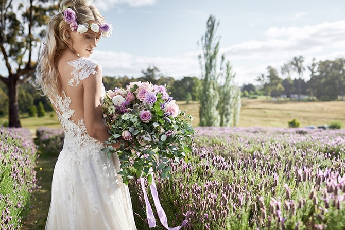 Bride in field of lavender | Luxury Country Garden Boho | Sephory Photography