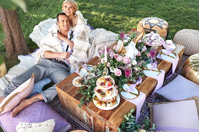 Engaged couple with luxury picnic in garden | Luxury Country Garden Boho | Sephory Photography
