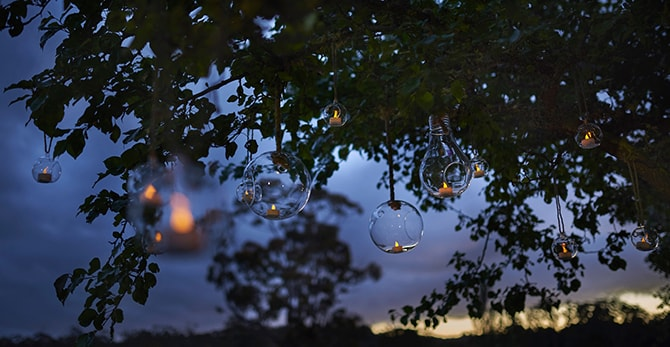 Hanging glass candle holders | Luxury Country Garden Boho | Sephory Photography