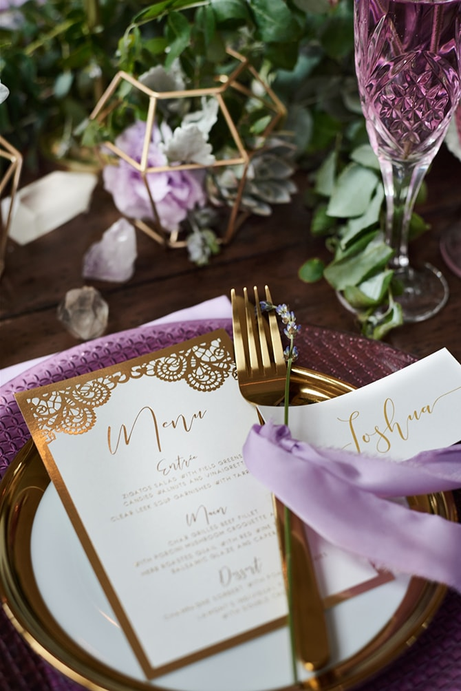 White and gold wedding menu | Luxury Country Garden Boho | Sephory Photography