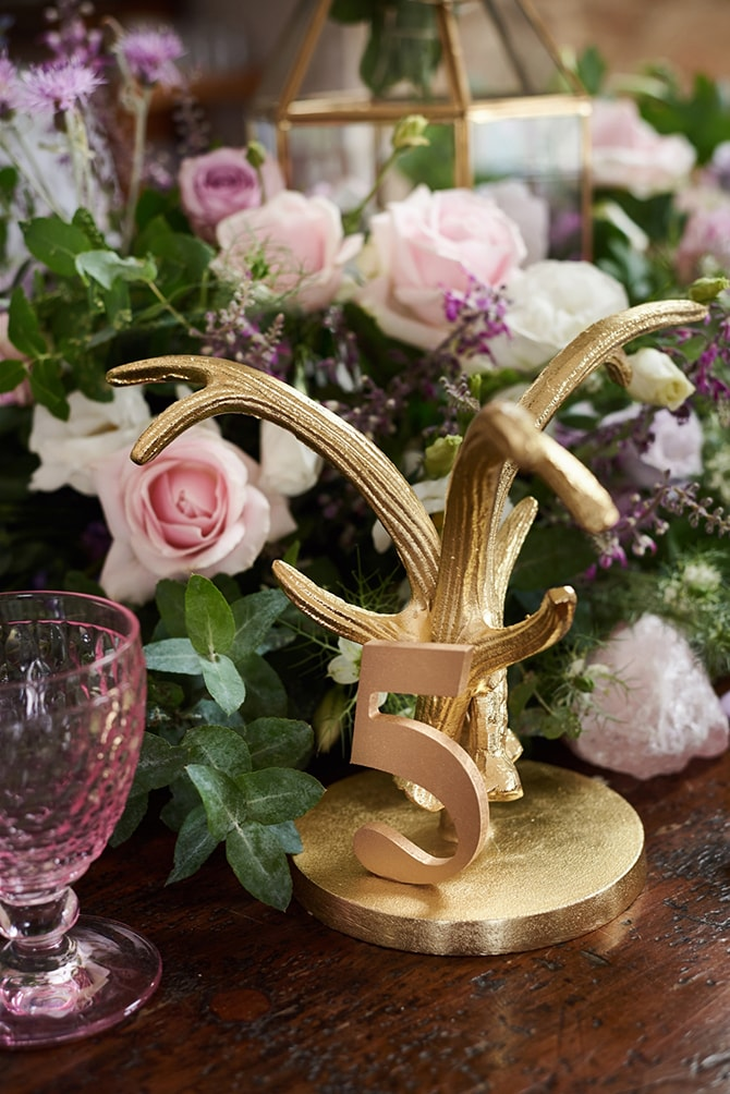 Gold antler table numbers | Luxury Country Garden Boho | Sephory Photography