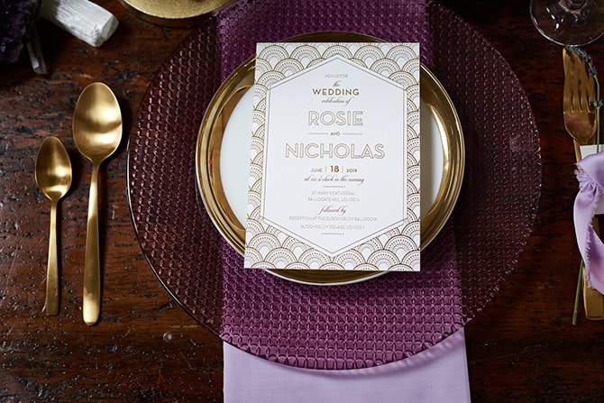 Art Deco white and gold stationery | Luxury Country Garden Boho | Sephory Photography