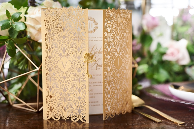 Gold lasercut wedding invitation | Luxury Country Garden Boho | Sephory Photography