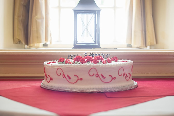 Red and white wedding cake | Modern Elegance in Exeter - Emily Teresa Photography
