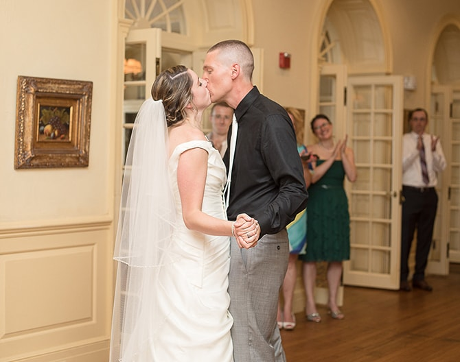 Newlyweds kissing | Modern Elegance in Exeter - Emily Teresa Photography