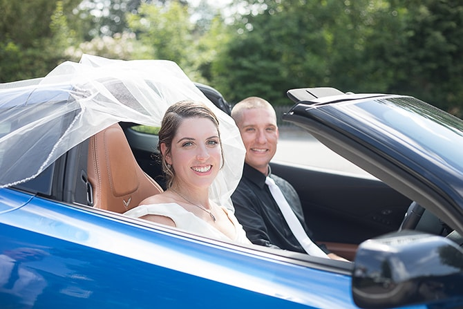 Bride and Groom in car | Modern Elegance in Exeter - Emily Teresa Photography