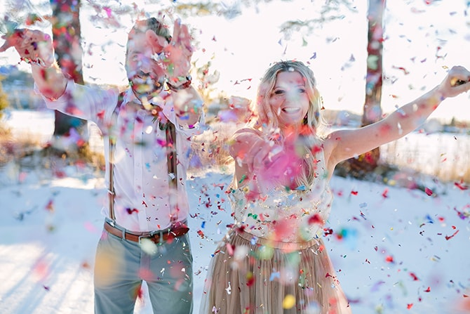 Colourful wedding confetti shot | Modern Winter Wedding Style | Linda-Pauline Photography