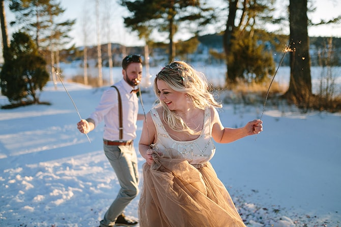 Wedding sparklers | Modern Winter Wedding Style | Linda-Pauline Photography