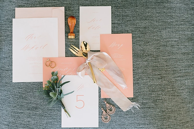 White and peach wedding stationery | Modern Winter Wedding Style | Linda-Pauline Photography