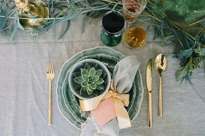 Gold wedding cutlery with plants | Modern Winter Wedding Style | Linda-Pauline Photography