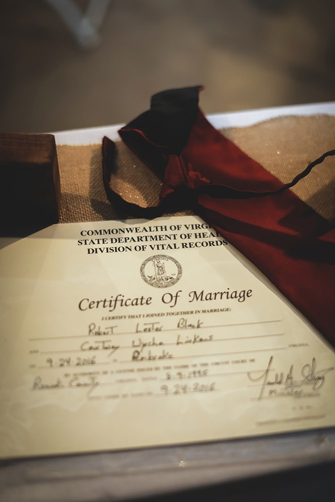 Certificate of marriage | Rustic Dreaming in Pembroke | Jasmine White Photography