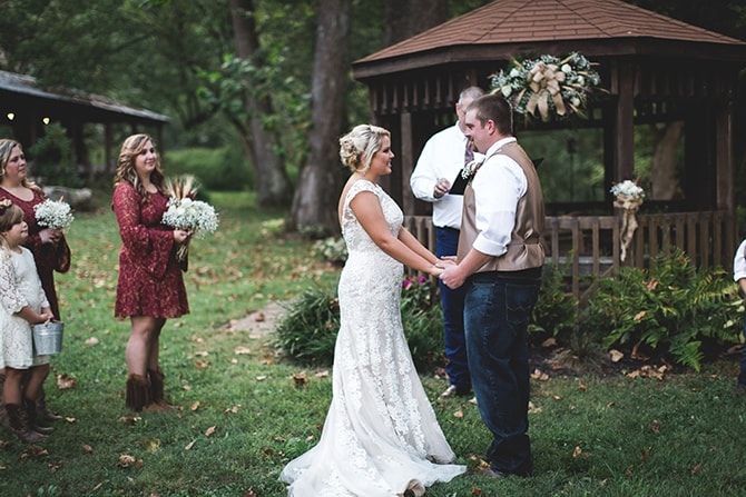 Couple at wedding ceremony | Rustic Dreaming in Pembroke | Jasmine White Photography
