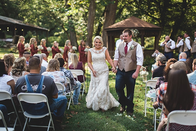 Couple walking down aisle | Rustic Dreaming in Pembroke | Jasmine White Photography