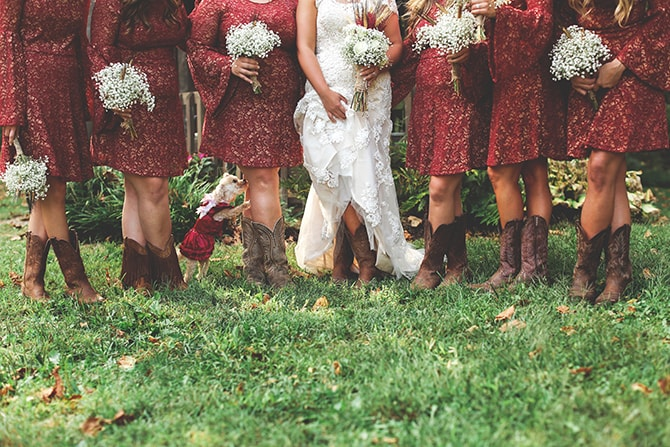 Bride in white dress with bridesmaids in red | Rustic Dreaming in Pembroke | Jasmine White Photography