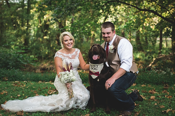 Wedding couple with Best Dog | Rustic Dreaming in Pembroke | Jasmine White Photography