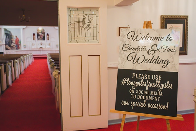 Ceremony social media board | Stylish Traditional Wedding in Kansas | Wisdom-Watson Weddings