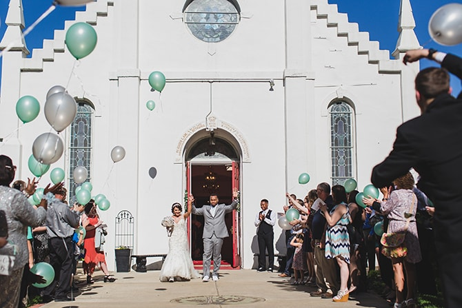 Wedding balloons release | Stylish Traditional Wedding in Kansas | Wisdom-Watson Weddings