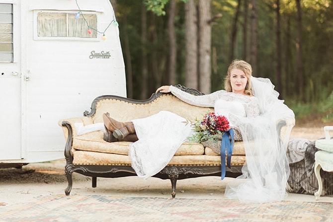 Boho bride on sofa | A Very Boho Christmas | Kayla Duffey Photography