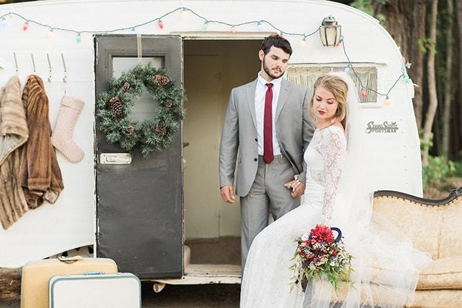Bride and groom at boho wedding | A Very Boho Christmas | Kayla Duffey Photography