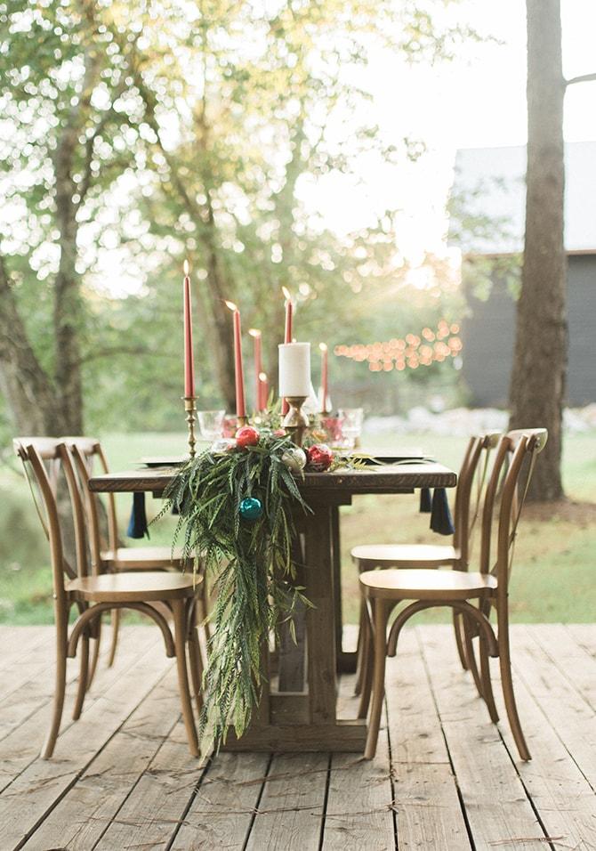 Winter wedding table greenery | A Very Boho Christmas | Kayla Duffey Photography