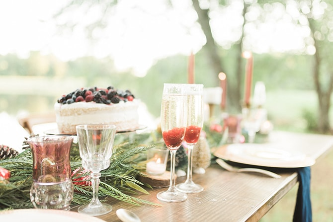 Champagne glasses with raspberries | A Very Boho Christmas | Kayla Duffey Photography