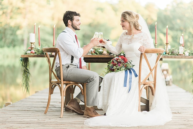 Bride and Groom sitting at table | A Very Boho Christmas | Kayla Duffey Photography