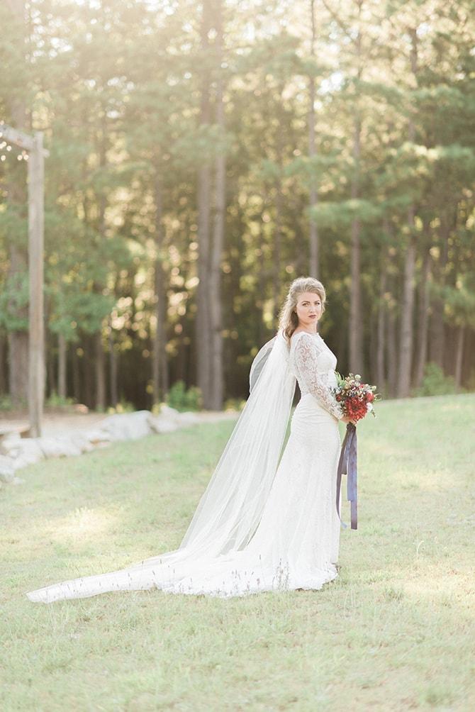 Beautiful bride in garden | A Very Boho Christmas | Kayla Duffey Photography