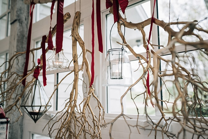 Hanging twigs at wedding | Intimate Winter Chapel Wedding | Rebecca Chesney Photo