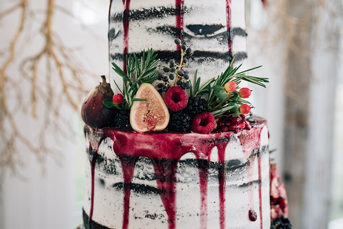 Wedding cake with pomegranate | Intimate Winter Chapel Wedding | Rebecca Chesney Photo