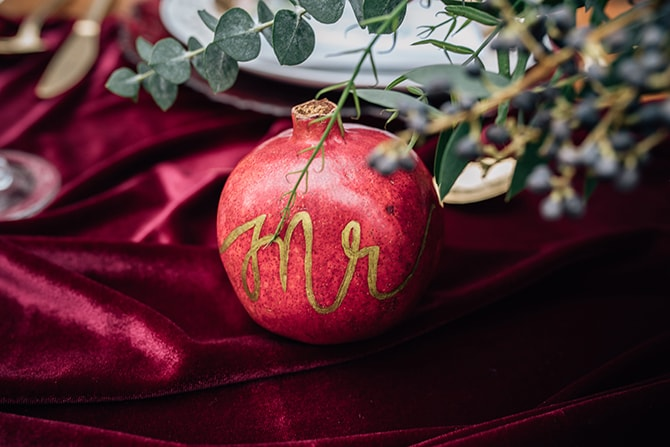 Pomegranate place names | Intimate Winter Chapel Wedding | Rebecca Chesney Photo