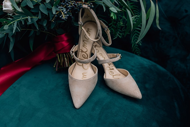 Bridal shoes | Intimate Winter Chapel Wedding | Rebecca Chesney Photo
