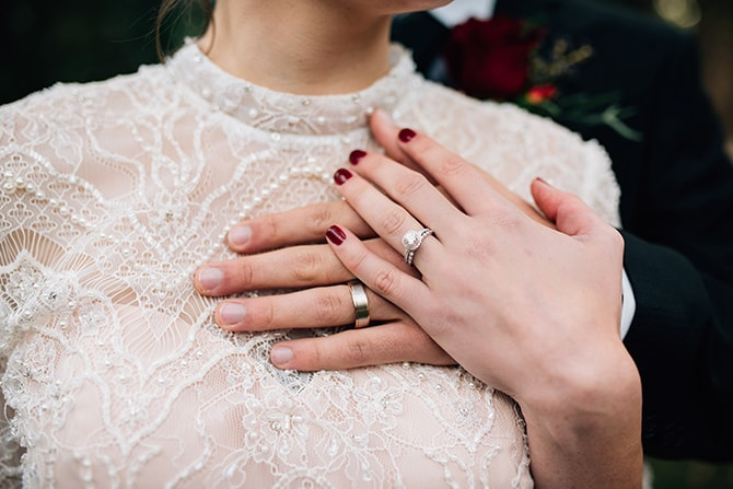 Weddings rings | Intimate Winter Chapel Wedding | Rebecca Chesney Photo