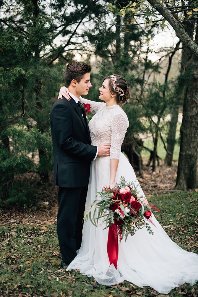 Winter bride and groom | Intimate Winter Chapel Wedding | Rebecca Chesney Photo
