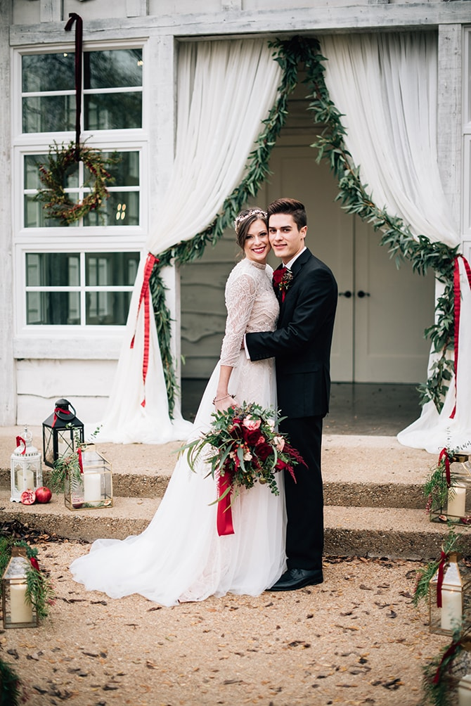 Bride and Groom at outdoor ceremony | Intimate Winter Chapel Wedding | Rebecca Chesney Photo