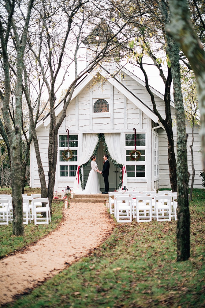 White Chapel at Bella Woods Wedding Ceremony | Intimate Winter Chapel Wedding | Rebecca Chesney Photo