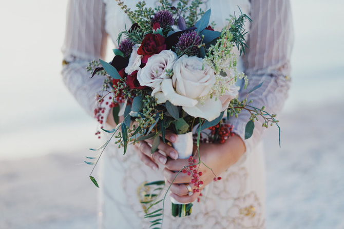Bride Holding Beautiful Modern Bouquet
