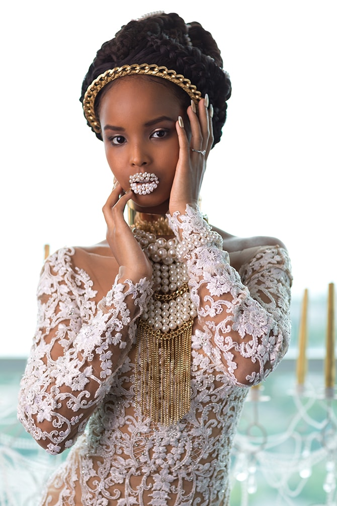 Beautiful Black Bride with White Pearls on Lips | The Avant-garde Bride | Motion D Photography