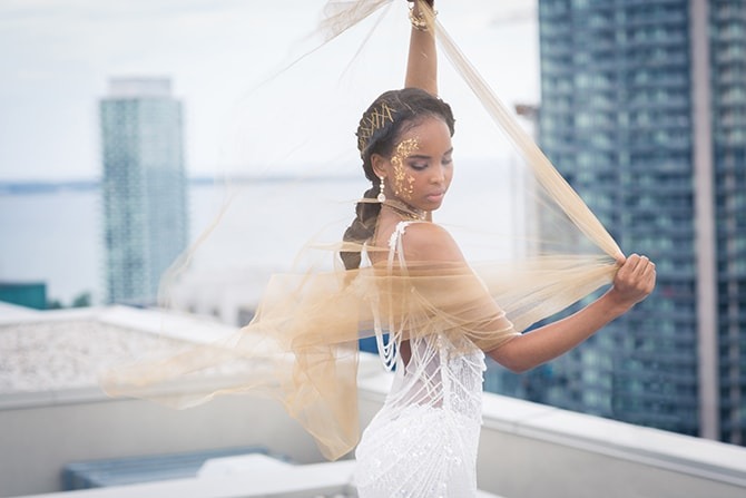 Bride on rooftop | The Avant-garde Bride | Motion D Photography