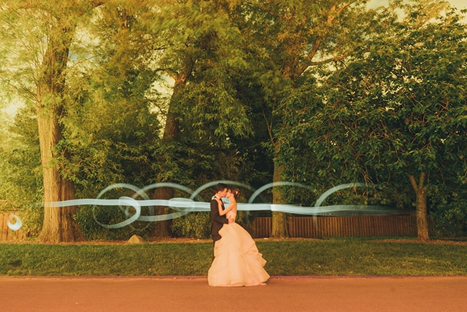 Bride and groom with lights
