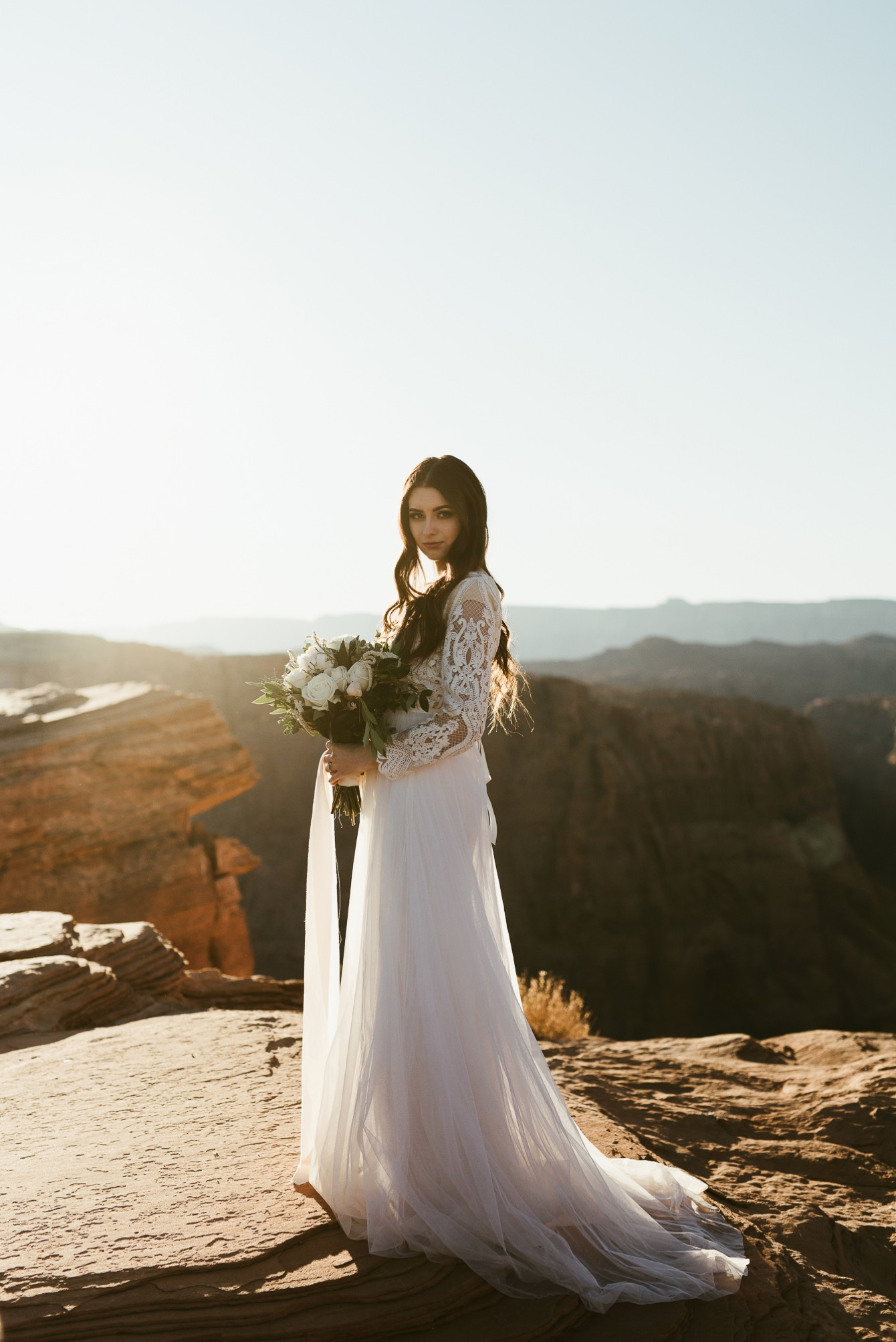 Bride on cliff