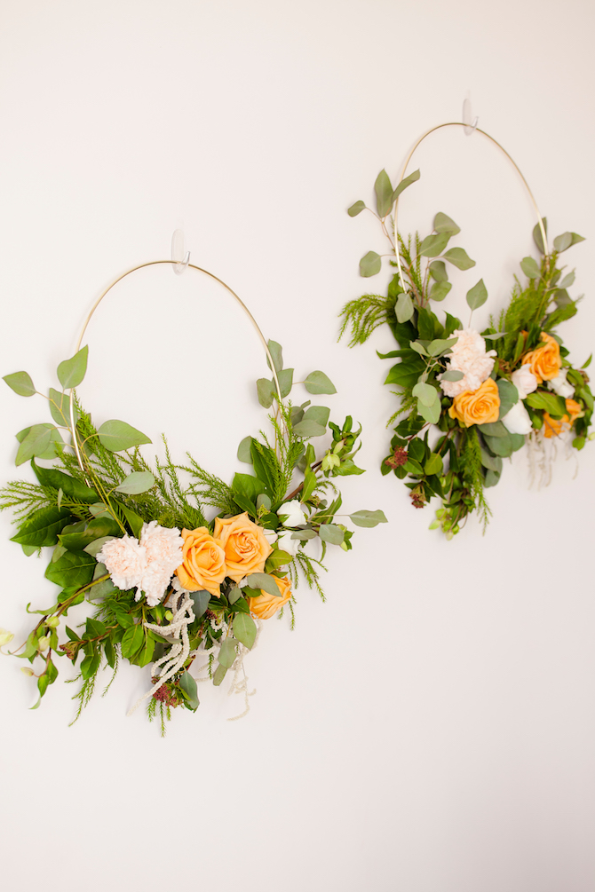 Green, yellow and white floral wedding wreaths