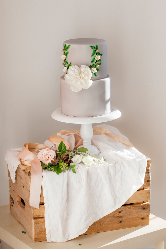 Modern simple grey wedding cake