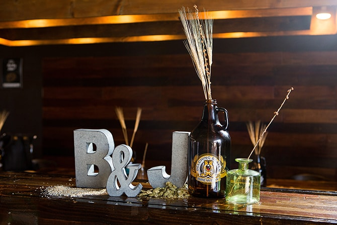 Beer themed wedding decorations