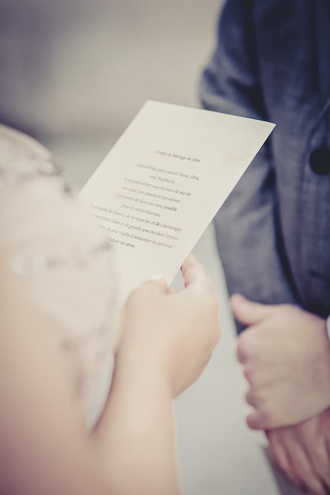 Bride reading from ceremony sheet