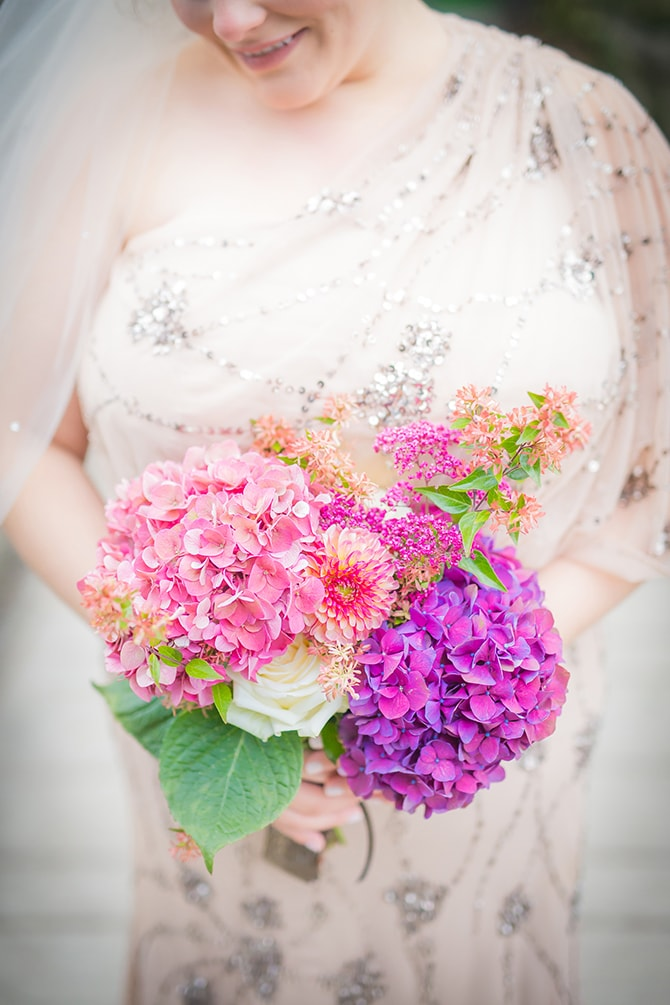 Purple floral wedding bouquet