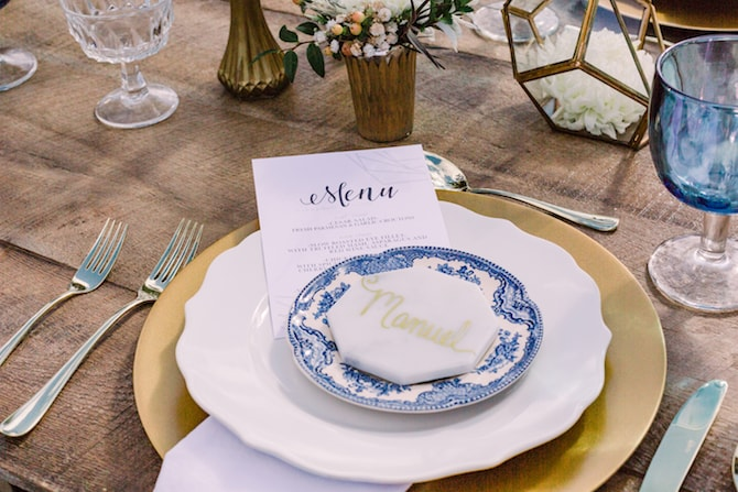 Blue and White Wedding Dinnerware