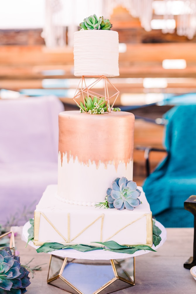 Geometric rose gold and white wedding cake