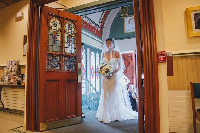 Bride walking down aisle | Fabulous Floral Wedding at The Park Savoy Estate