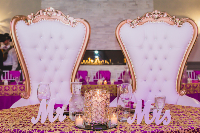 White and gold wedding top table chairs | Glamorous Multicultural Wedding in Kansas City