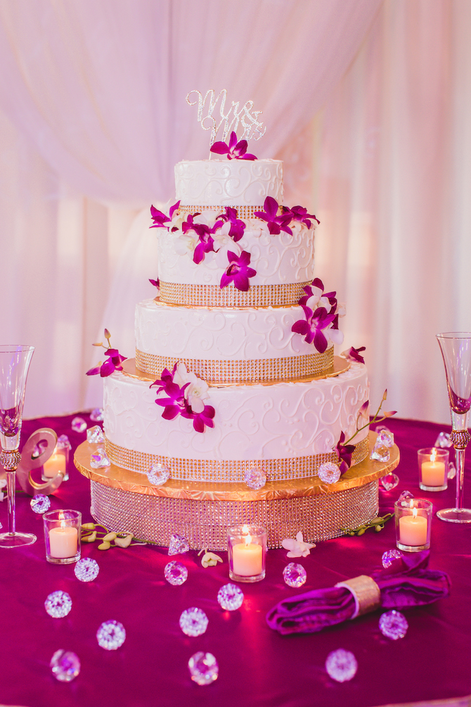White Gold and Purple Floral wedding cake | Glamorous Multicultural Wedding in Kansas City